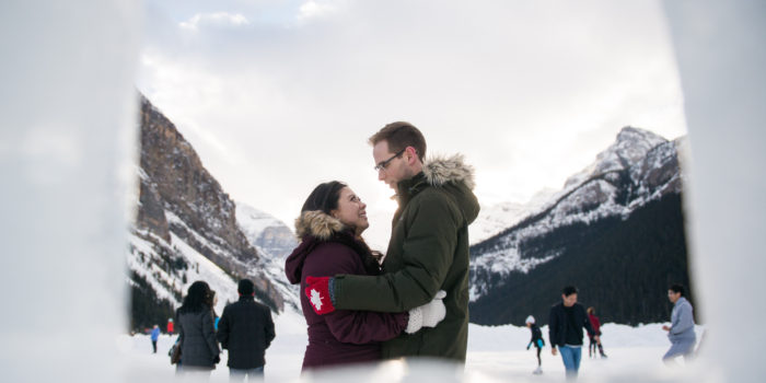 Creative mountain engagement photography