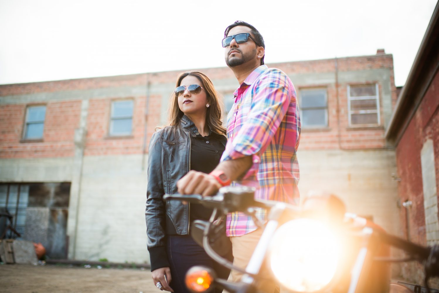 Couples syalized motorcycle shoot in urban downtown edmonton