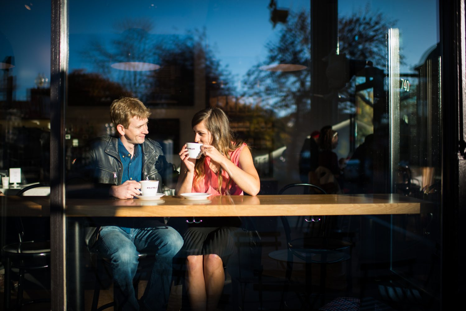 Downtown Coffee shope engagement photographs in Calgary Alberta | 3Haus Photographics