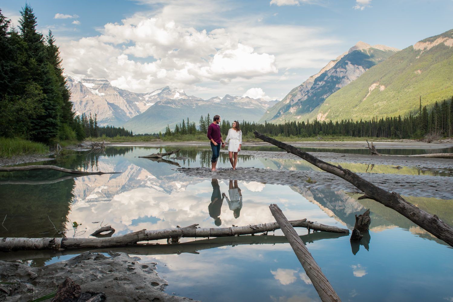 A beautiful reflection of the fraser river during and engagement session in Mount Robson | 3Haus Photographics