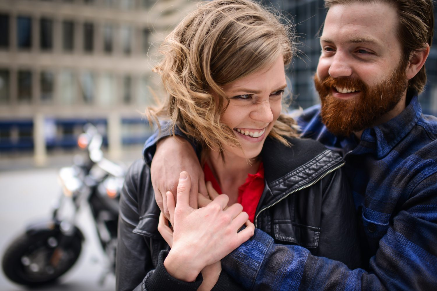 Downtown Calgary Engagement session with motorcycle, leather jackets and an awesome couple |3Haus Photographics