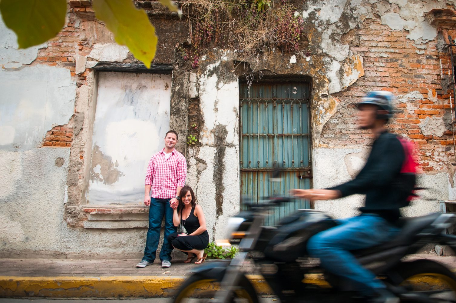 In motion engagement session photographed on the streets of Mexico with a couple in Love | 3Haus Photographics