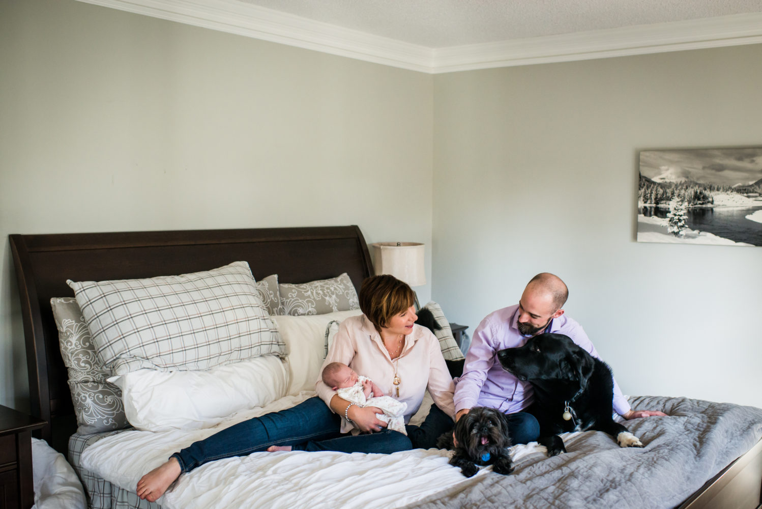 Taking family photos with the original kids, their dogs and watching how these puppies adored their new baby sister | 3Haus Photographics
