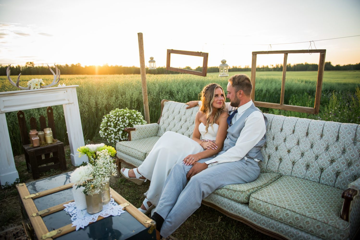 A beautiful farm wedding in rural Alberta and country lounge set up for the guests to enjoy | 3Haus Photographics