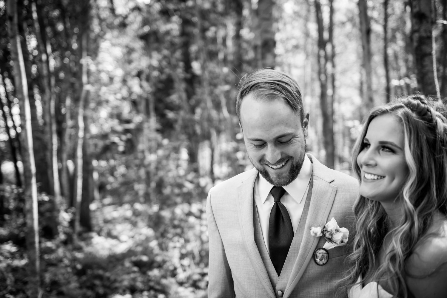 Couple poses for a photo at their Alberta Farm Wedding | 3Haus Photographics