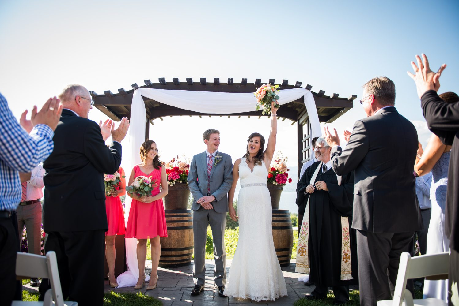 A celebration as they are pronounced Husband and Wife at Pyramid Hill Winery in Kelowna British Columbia | 3Haus Photographics