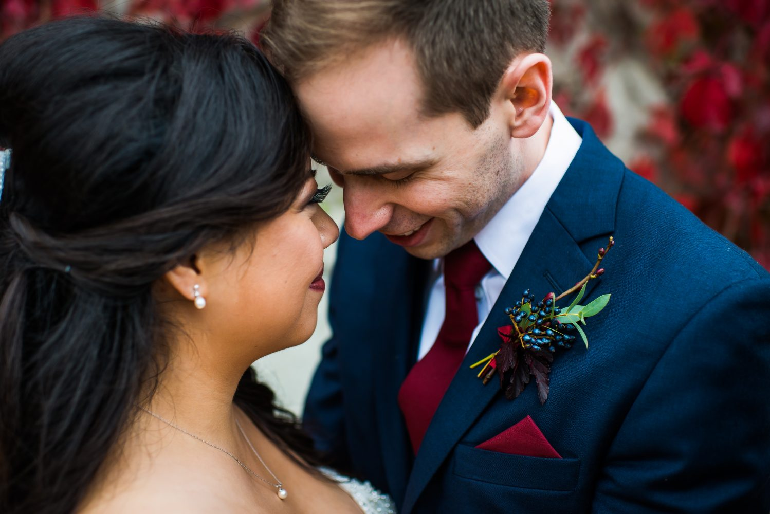 Burdandy and Navy fall wedding at the old timers cabin in Edmonton Alberta | 3Haus Photographics