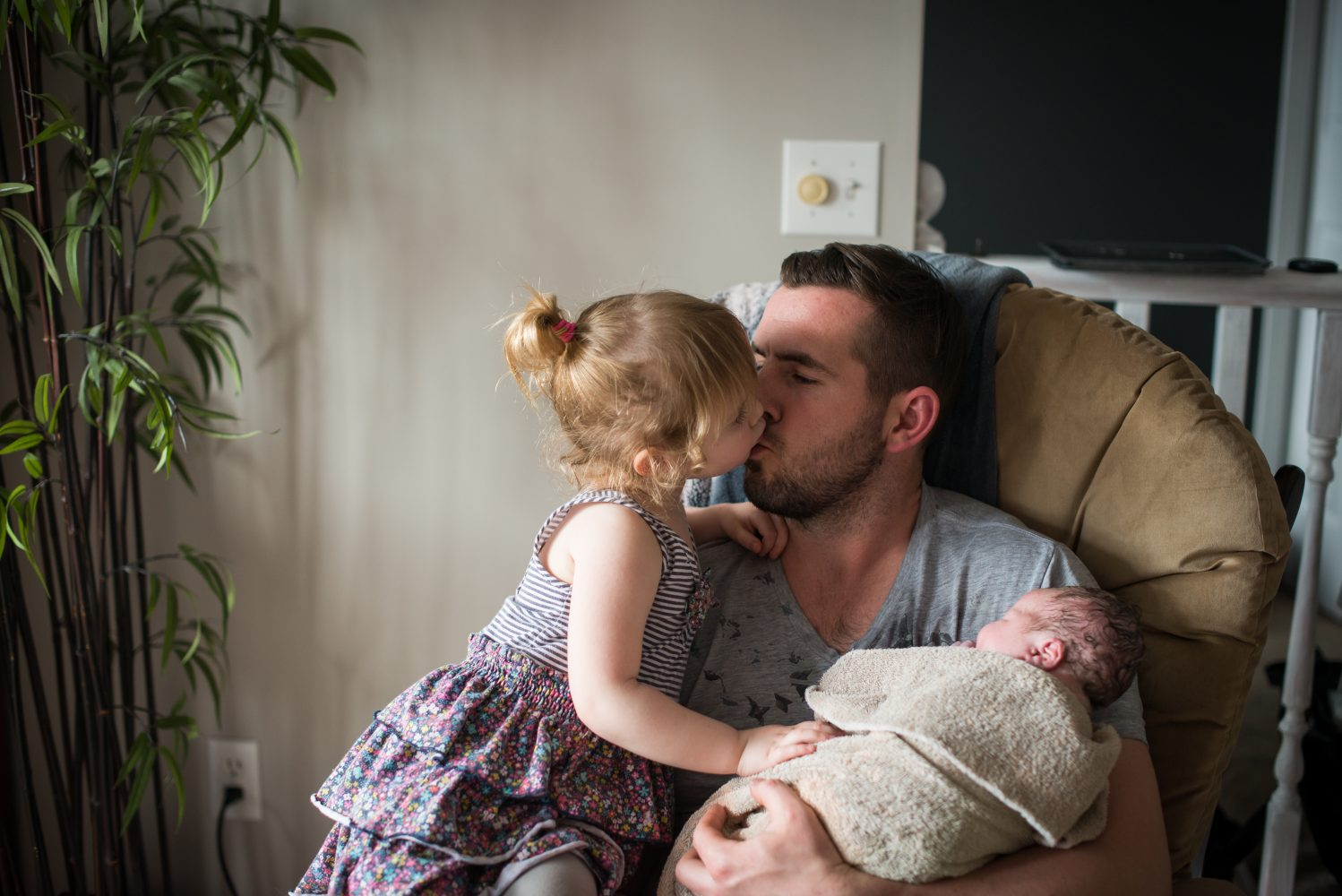 First moments with dad and baby after a home birth | 3Haus Photographics