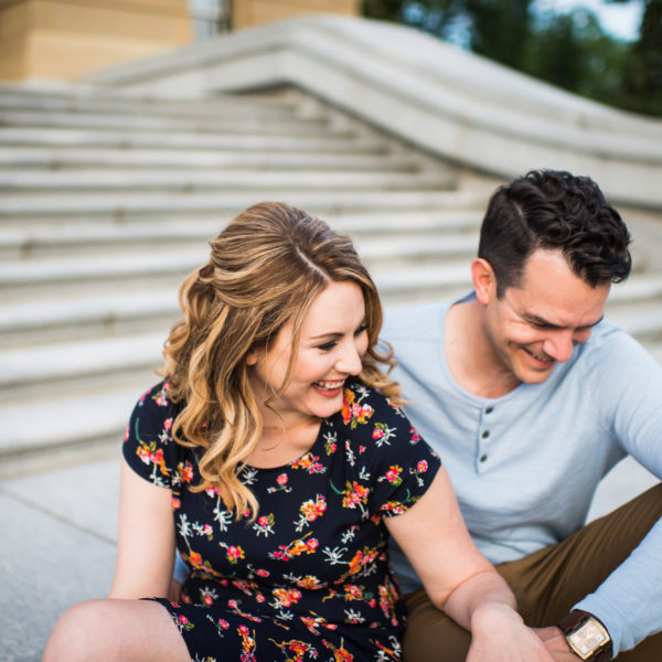 Alberta legislature grounds engagement session, 3Haus Photographics